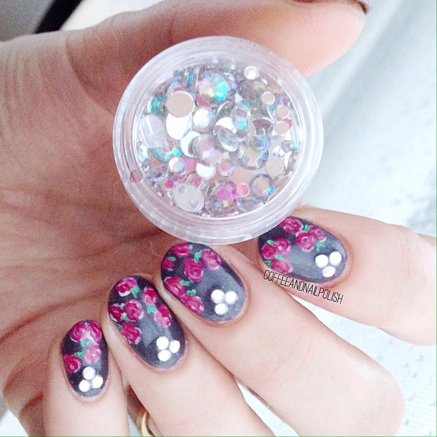 Rose and Diamond nails featuring rhinestones from Born Pretty ...
