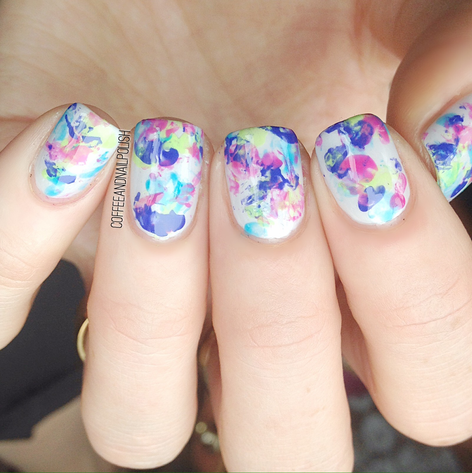Saran wrap splatter nails coffee nail polish the colours were so bright and vibrant i decided to combine them together in a saran wrap splatter design prinsesfo Choice Image