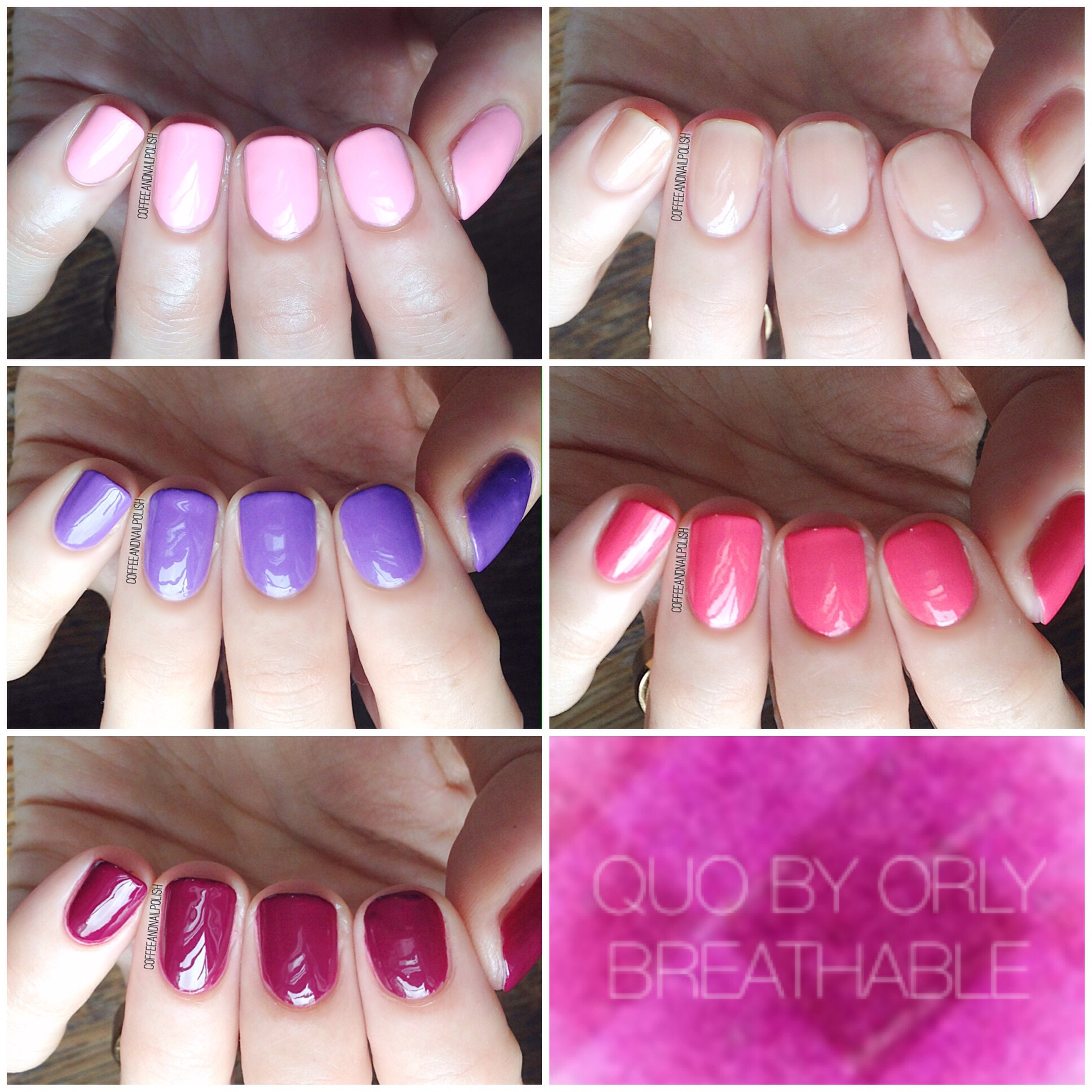 QUO by Orly Breathable swatches. – Coffee & Nail Polish