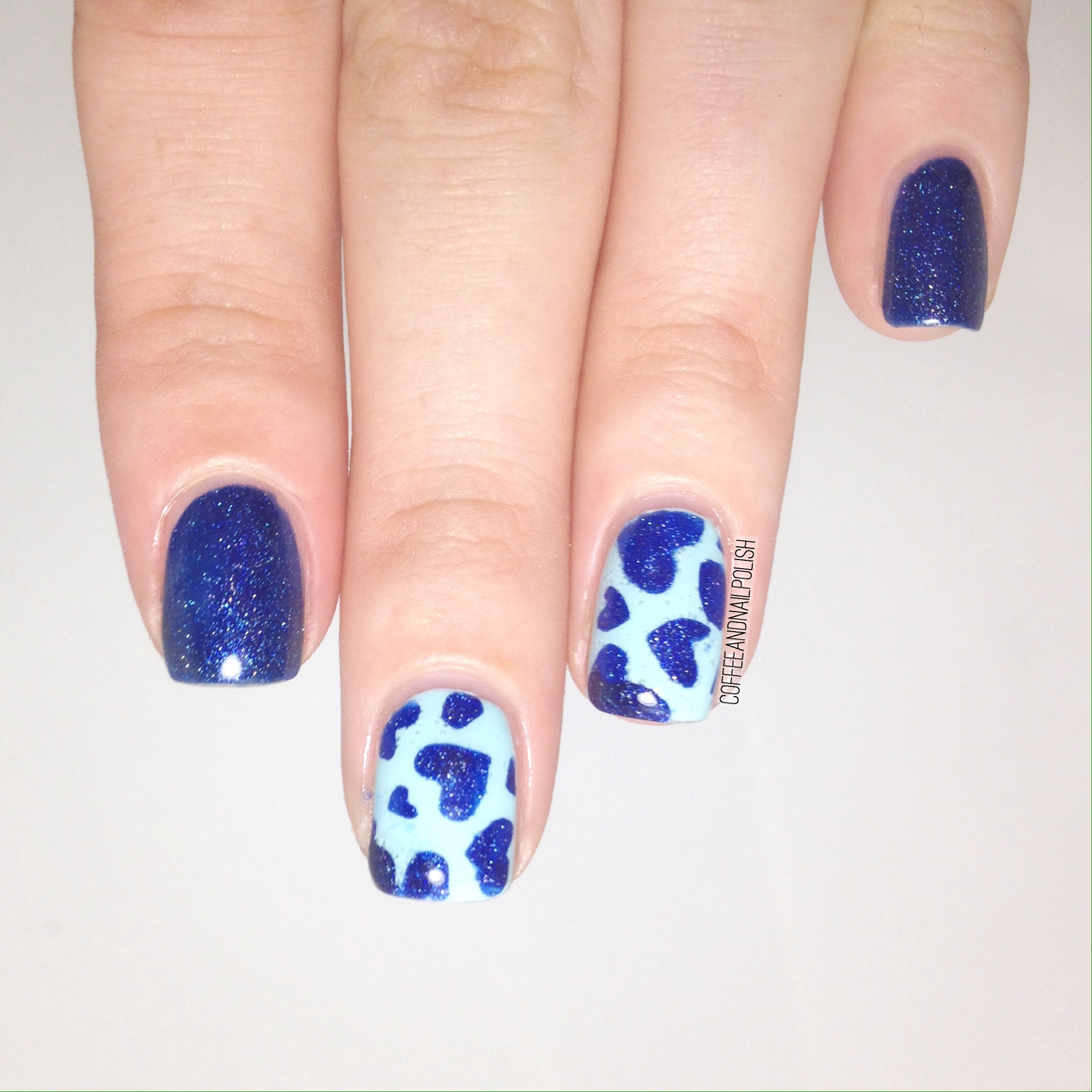 Blue On Blue Heart Accent Nails 💙