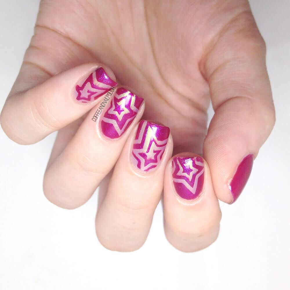 Pink nails coffee nail polish page 2 once again i pulled out my xroma vinyls for these nails these star spiral stencils are great because you get two vinyls in one prinsesfo Gallery