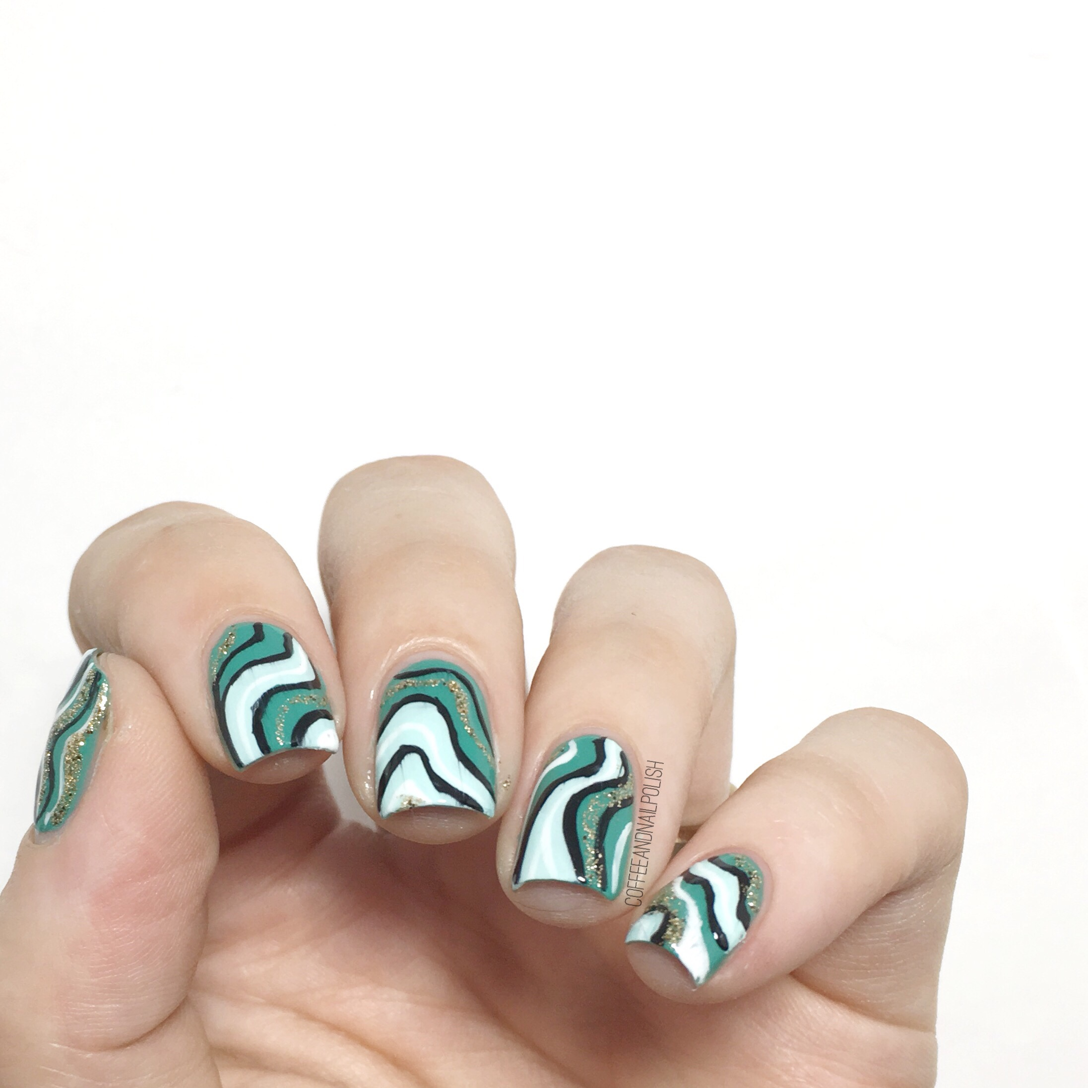 Concrete And Nail Polish Striped Nail Art: Coffee & Nail Polish