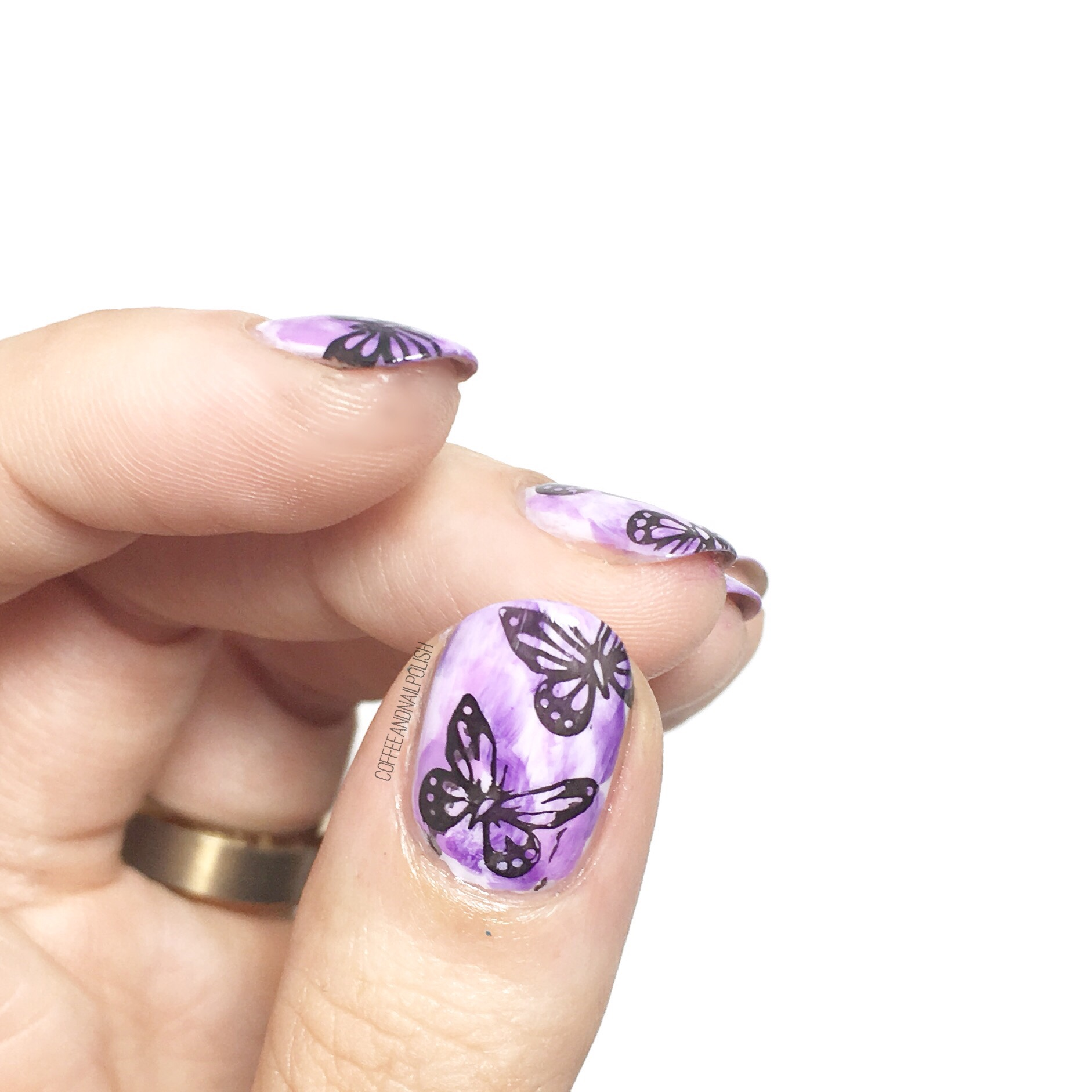 Purple Butterflies with #thenailartsquad – Coffee & Nail Polish