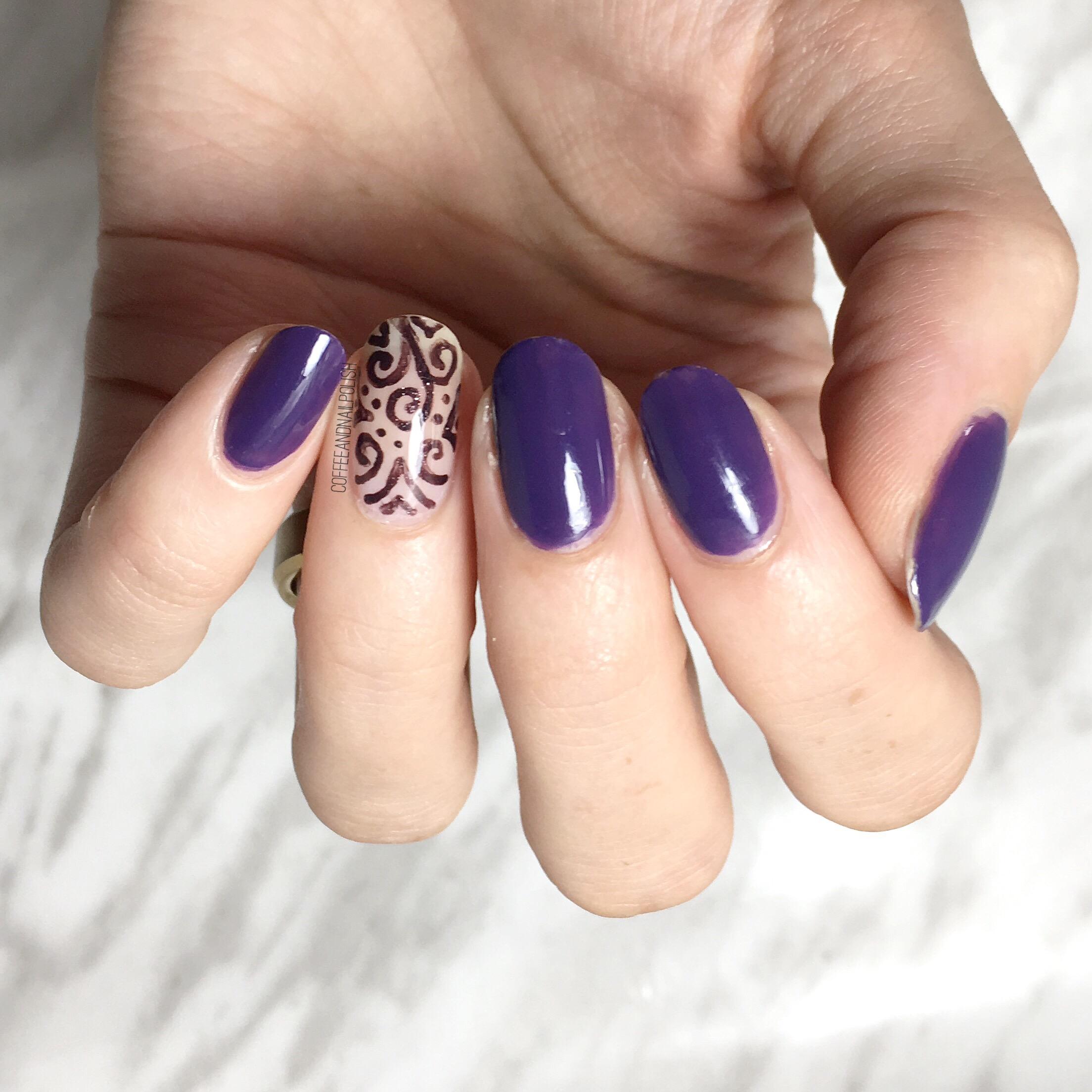 My New Favourite Purple & Swirly Accent Nails – Coffee & Nail Polish