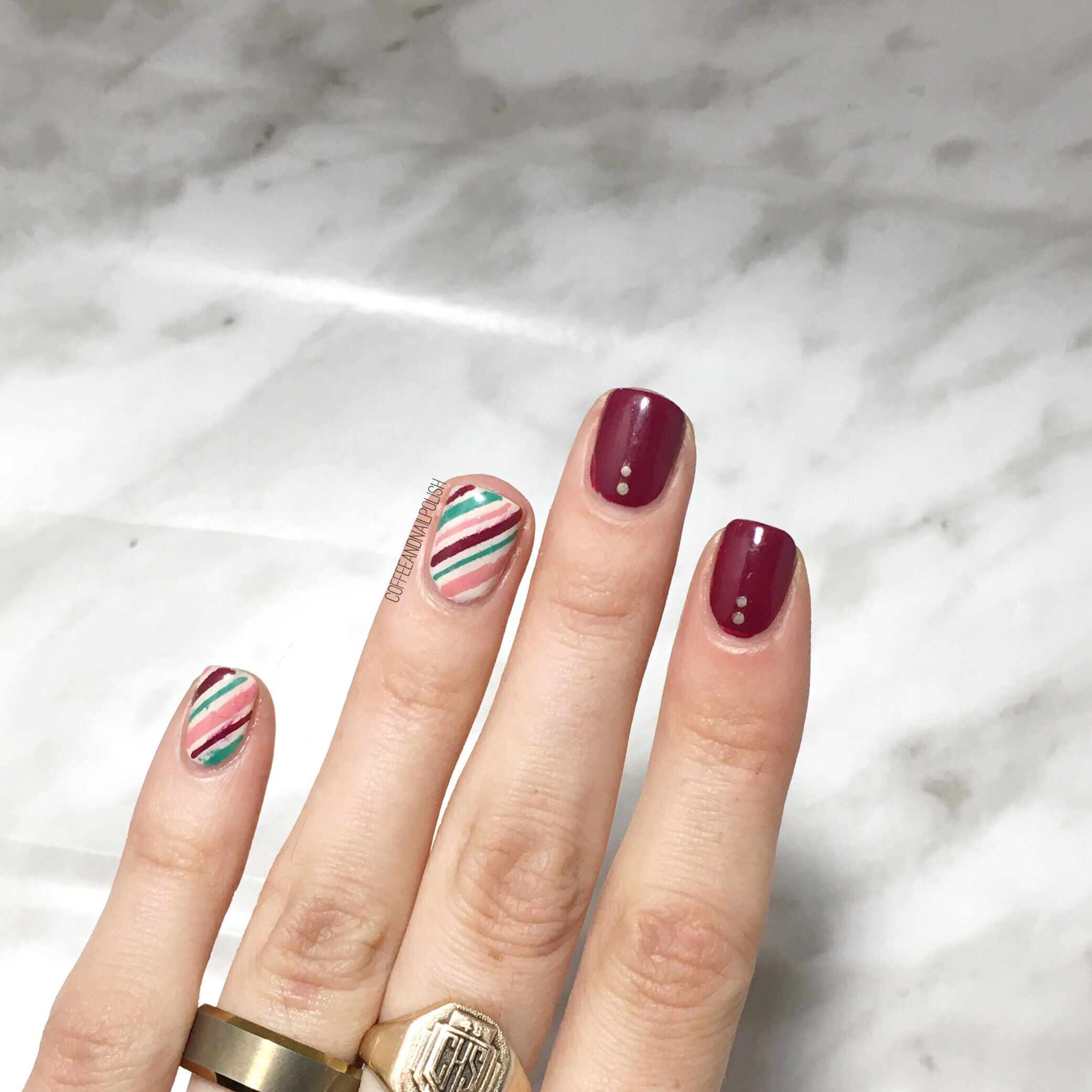 Its Officially December Now That Means Time For Some Serious Christmas Y Nail Spam First Up These Candy Cane Accent Nails Have Been Sitting