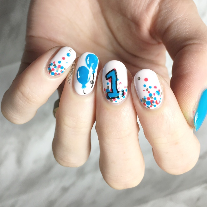 Hannah had painted her nail design first, so I followed her polish picks to  match the best I could. - Bestie Twin Baby Boy Birthday Nails With @hjs_nails – Coffee & Nail