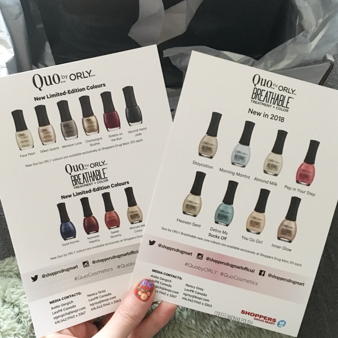 SWATCH SUNDAY — new Quo by ORLY Breathable Shades – Coffee & Nail Polish