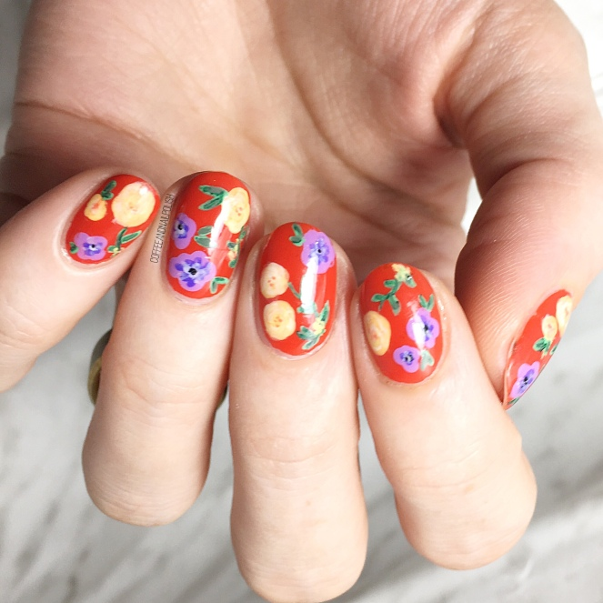 Floral nails coffee nail polish as soon as i bought it i knew that i was going to need to do nail art inspired by it the combination of colours was just screaming to be painted on my prinsesfo Choice Image
