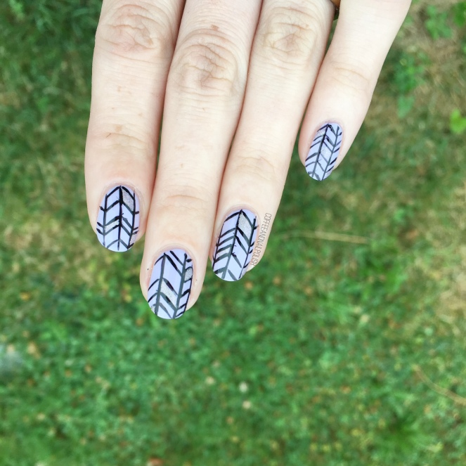 Freehand Herringbone Pattern Nails Coffee Nail Polish
